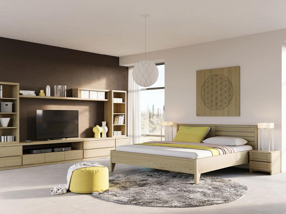 """Schlafzimmer mit Kastanienbett """"Nina"""" 180 x 200 cm - metallfrei"""