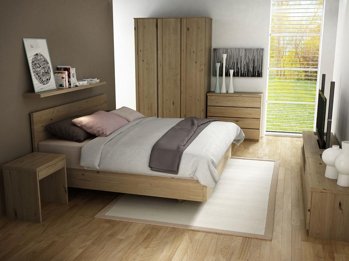 """Schlafzimmer mit Wildeichenschrank """"Patrizia"""" 3-türig, Höhe 235 cm"""