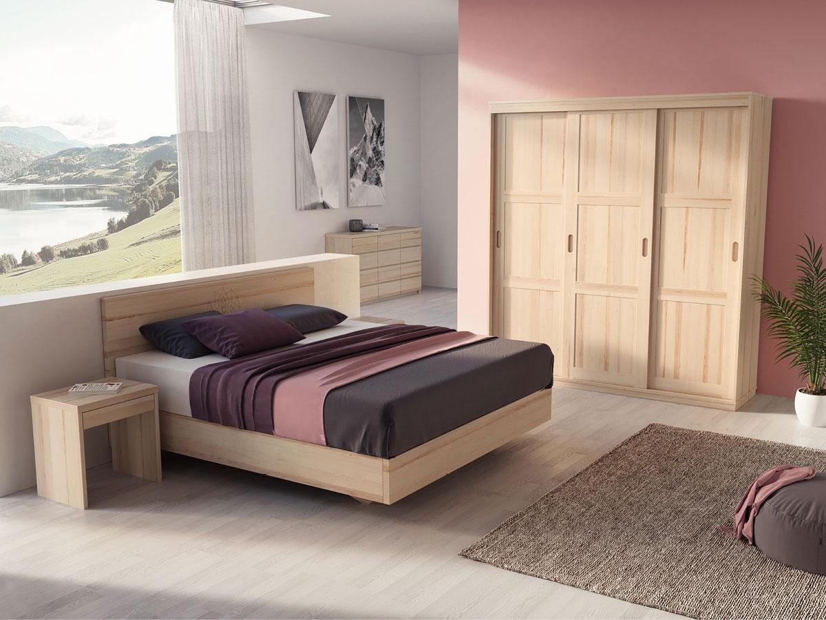 """Schlafzimmer in Esche mit Nachtkästchen """"Emil"""" in Boxspringhöhe"""