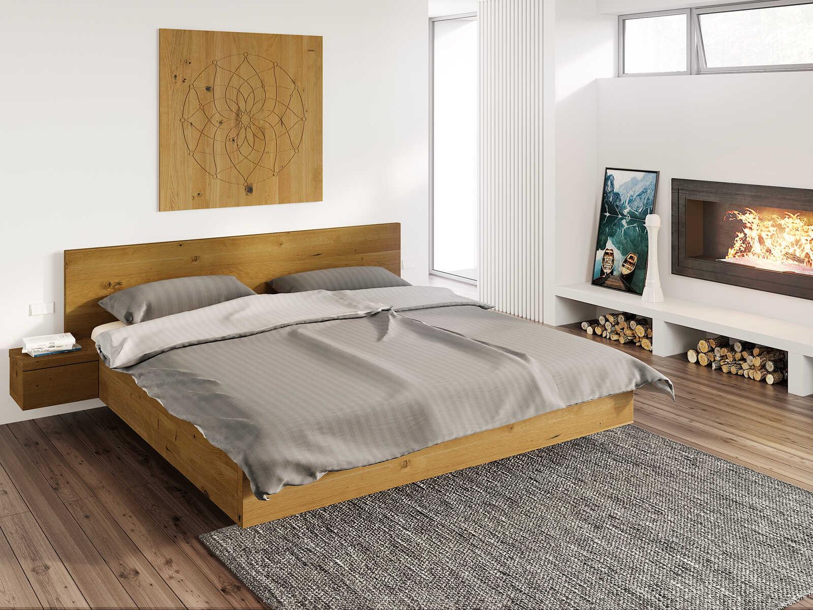 """Wildeichenholzbett """"Patrizia"""" 180 x 200 cm"""