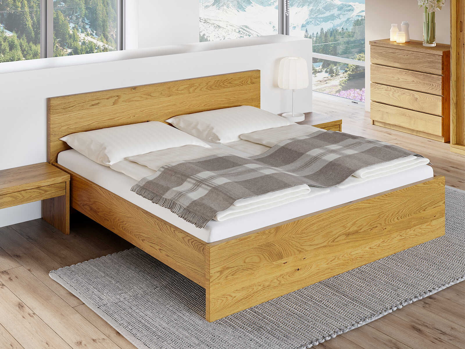 """Eichenholzbett """"Raphaela"""" 180 x 200 cm"""