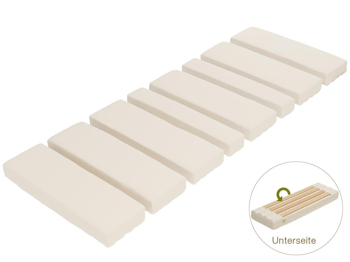 Optimale Anpassung für jede Körpergröße durch 8 Aktiv-Segmente mit herausnehmbaren Lamellen