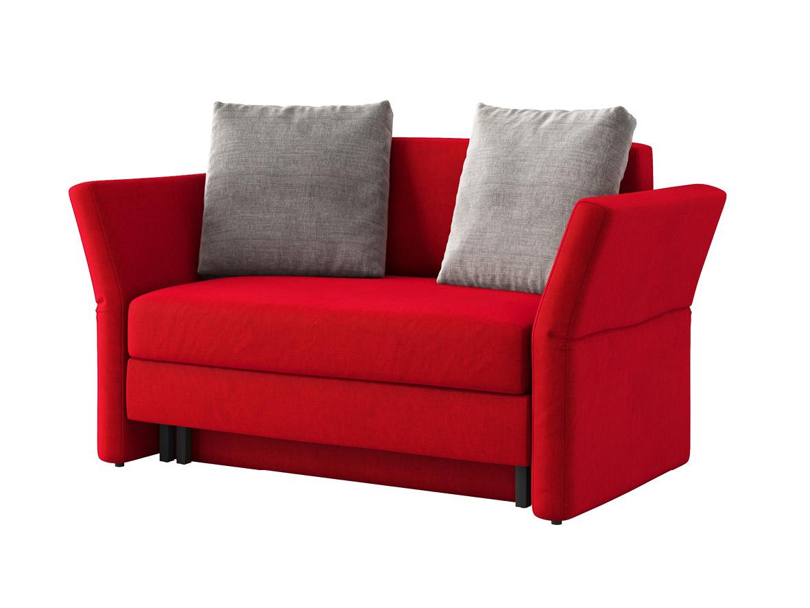 "Sofa ""Clarissa"" mit Stoff ""Hochobir"": Sofafarbe Rot, Kissenfarbe Hellgrau"