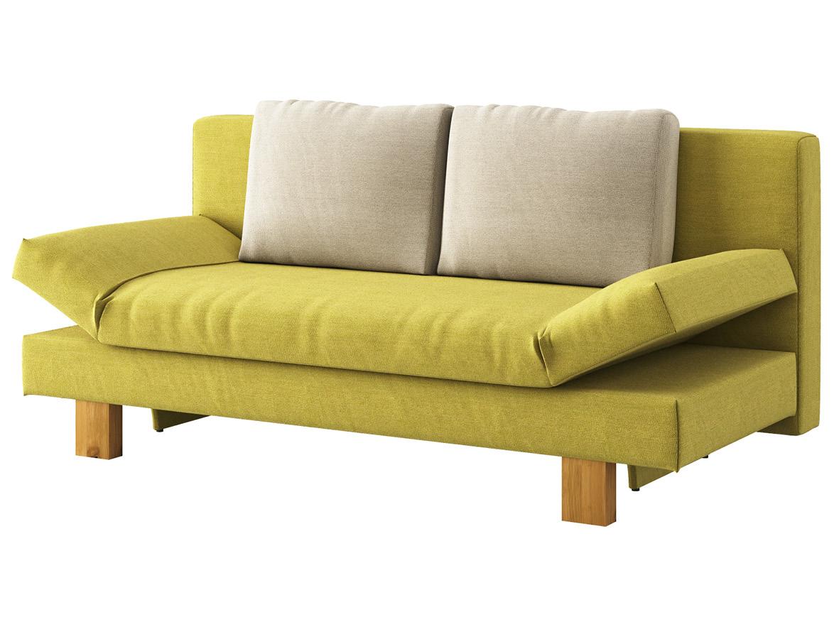 "Sofa ""Janina"" mit Stoff ""Ankogel"": Sofafarbe Limette, Kissenfarbe Flanell, Holzfüße in Wildeiche"