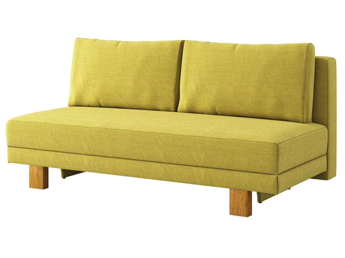 "Sofa ""Mara"" mit Stoff ""Ankogel"": Sofafarbe Limette, Kissenfarbe Limette, Holzfüße in Eiche"