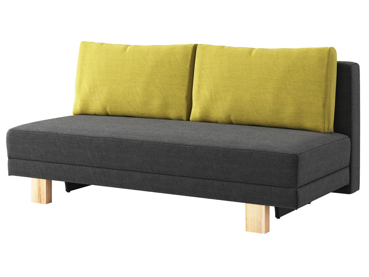 """Sofa """"Mara"""" mit Stoff """"Ankogel"""": Sofafarbe Karbon, Kissenfarbe Limette, Holzfüße in Esche"""