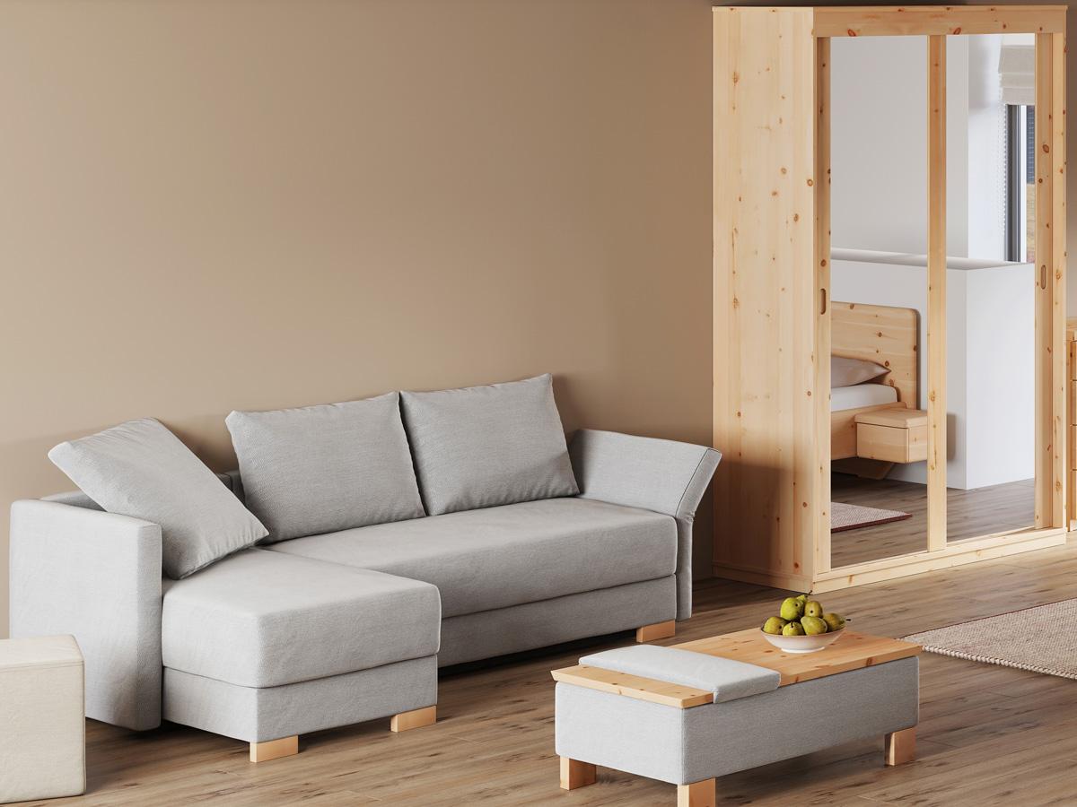 """Wohnzimmer mit Schlafsofa """"Nathalie"""" und optional erhältlichem Hocker-Tisch """"Stellan"""""""