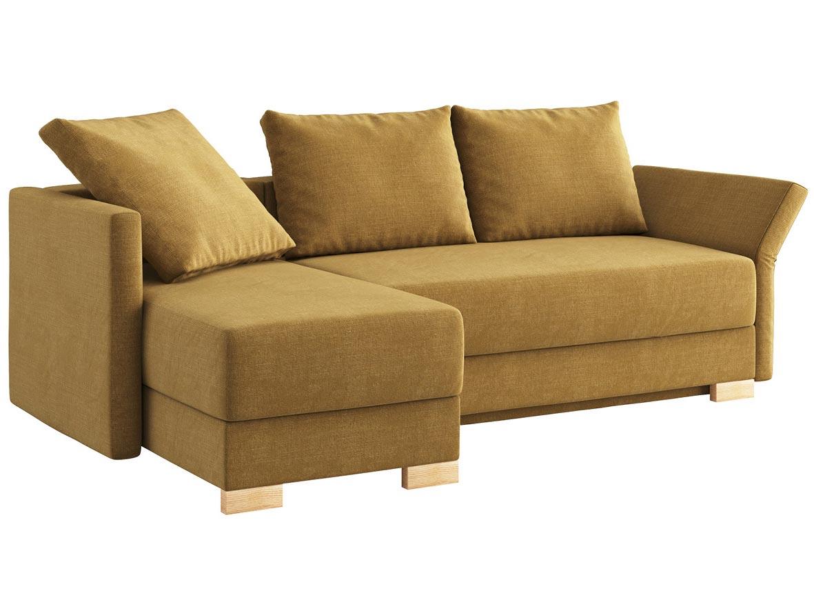 """Sofa """"Nathalie"""" mit Stoff """"Hochobir"""": Sofafarbe Schlamm, 2 Rückenkissen und 1 Faltkissen in Farbe Schlamm, Anbauelement links, Holzfüße in Esche"""