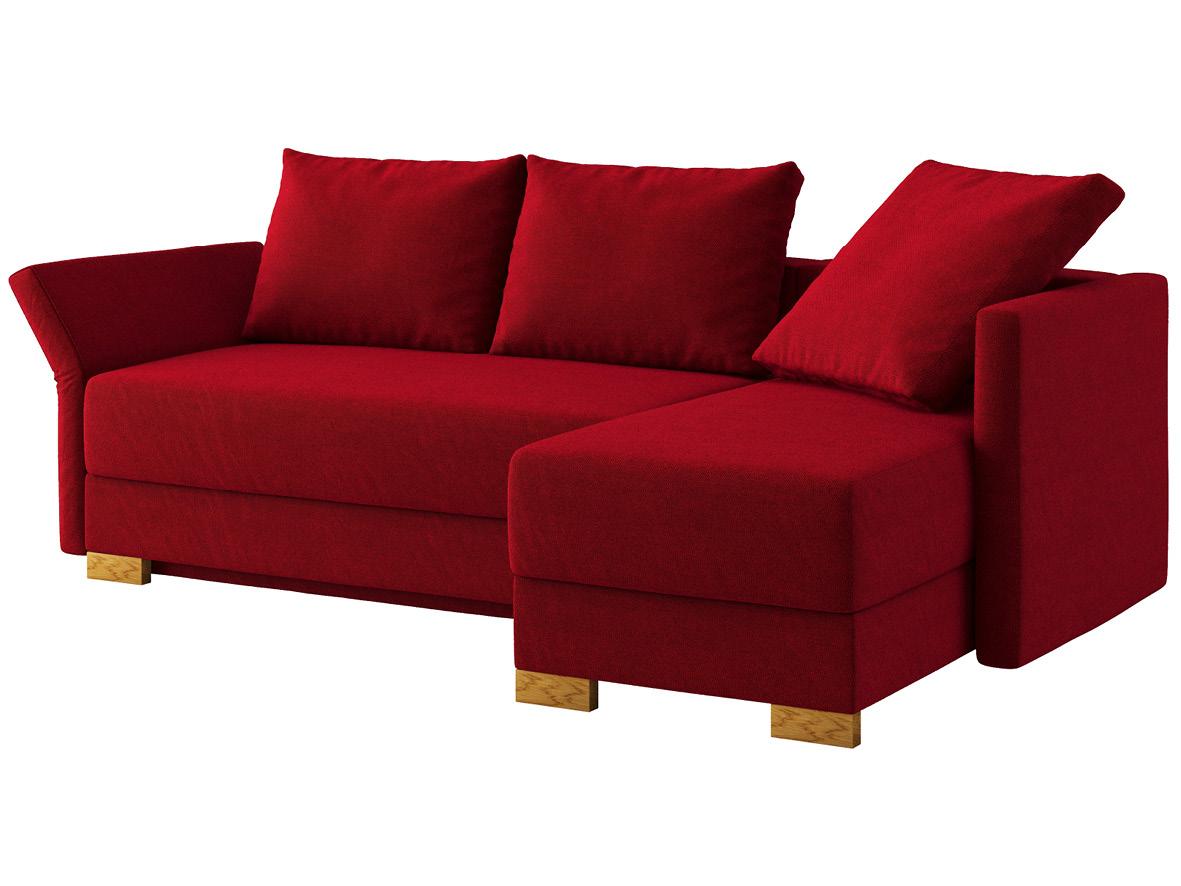 """Sofa """"Nathalie"""" mit Stoff """"Ankogel"""": Sofafarbe Herz, 2 Rückenkissen und 1 Faltkissen in Farbe Herz, Anbauelement rechts, Holzfüße in Eiche"""