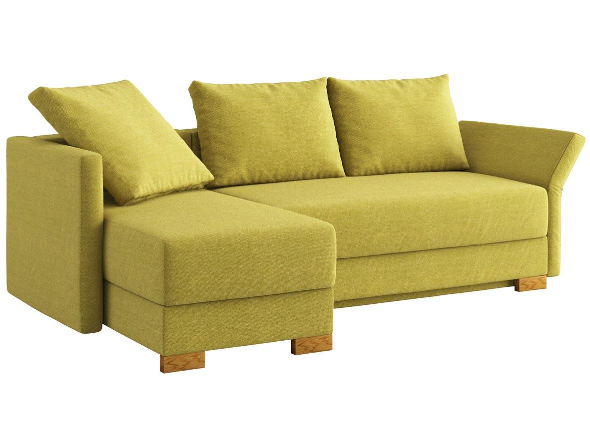 """Sofa """"Nathalie"""" mit Stoff """"Ankogel"""": Sofafarbe Limette, 2 Rückenkissen und 1 Faltkissen in Farbe Limette, Anbauelement links, Holzfüße in Eiche"""