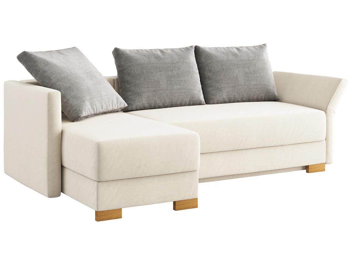 """Sofa """"Nathalie"""" mit Stoff """"Hochobir"""": Sofafarbe Creme, 2 Rückenkissen und 1 Faltkissen in Farbe Hellgrau, Anbauelement links, Holzfüße in Kastanie"""
