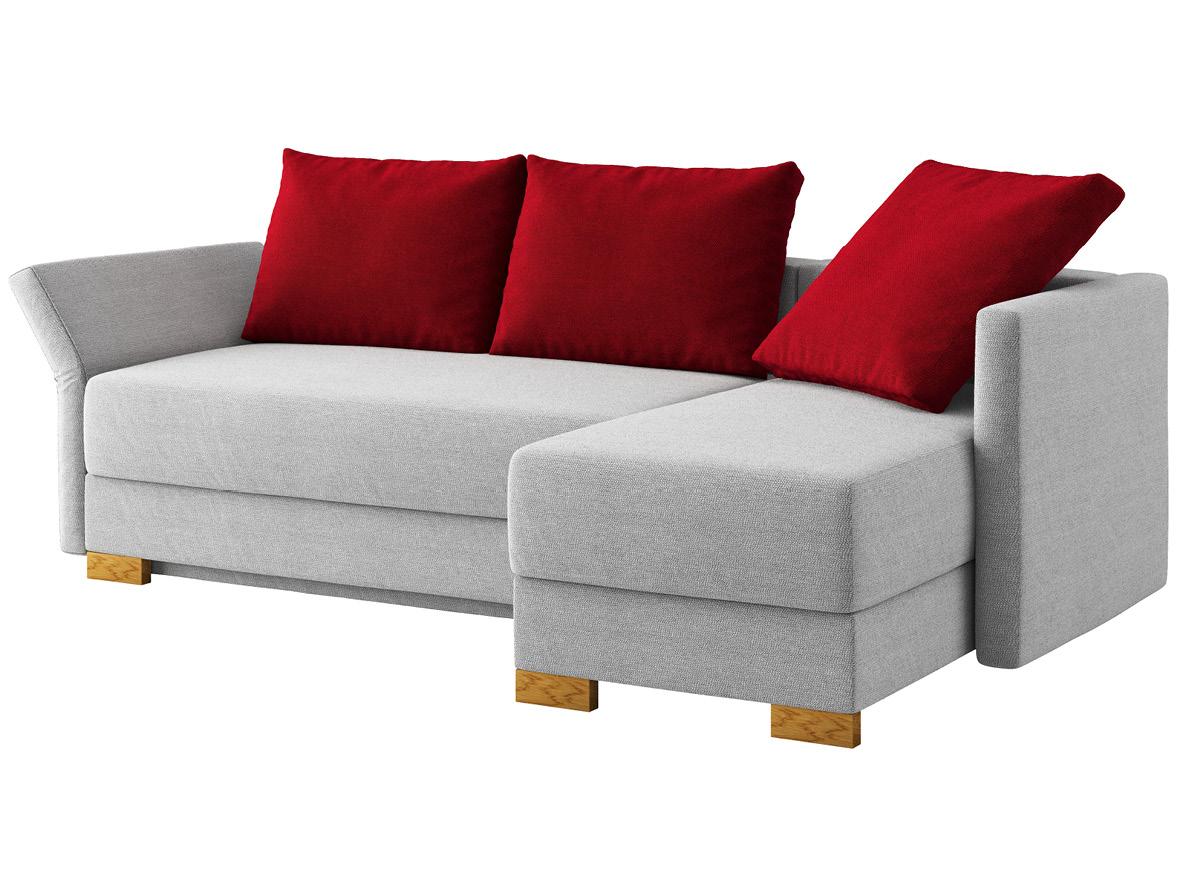 """Sofa """"Nathalie"""" mit Stoff """"Ankogel"""": Sofafarbe Fels, 2 Rückenkissen und 1 Faltkissen in Farbe Herz, Anbauelement rechts, Holzfüße in Eiche"""