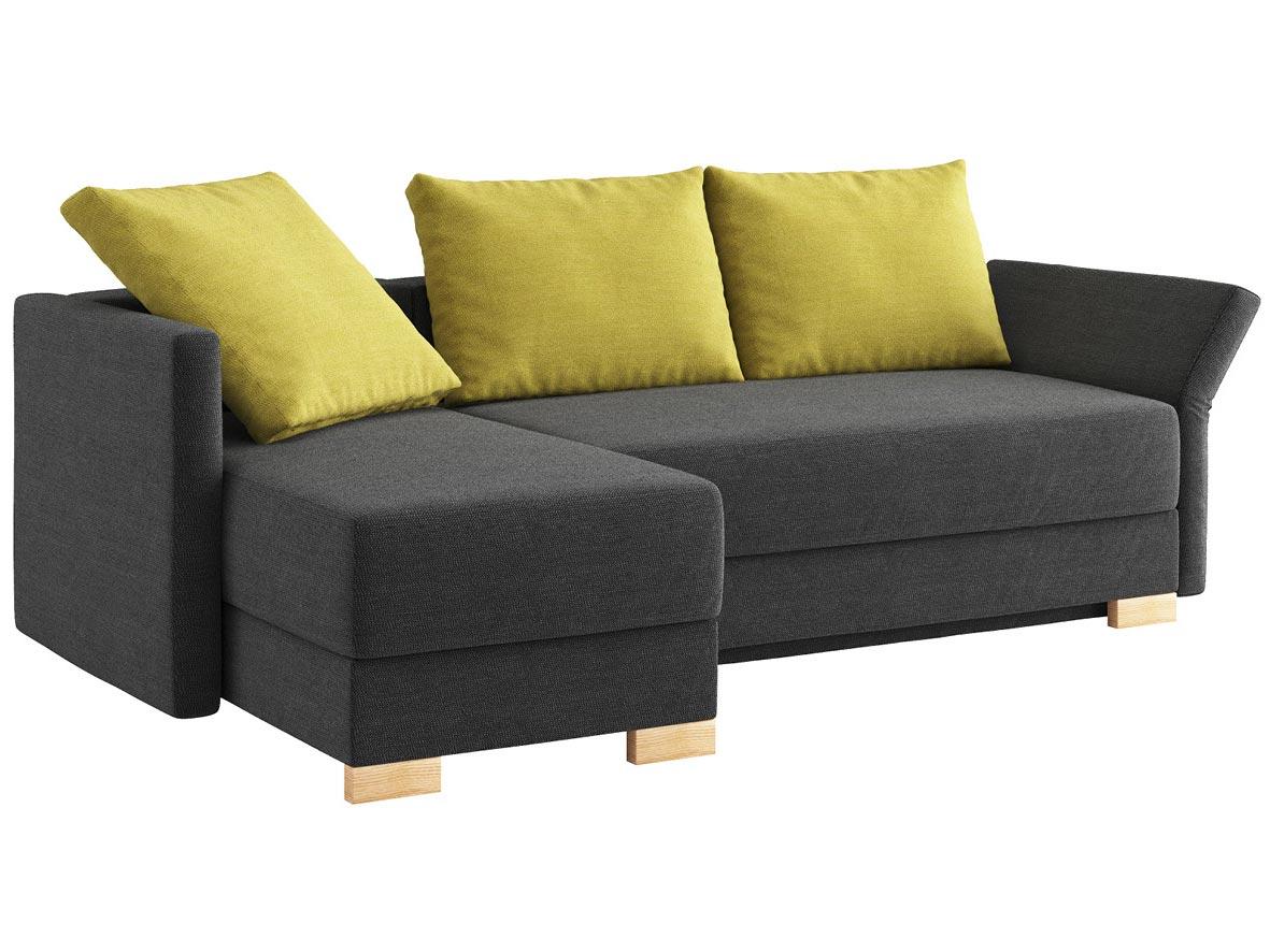 """Sofa """"Nathalie"""" mit Stoff """"Ankogel"""": Sofafarbe Karbon, 2 Rückenkissen und 1 Faltkissen in Farbe Limette, Anbauelement links, Holzfüße in Esche"""