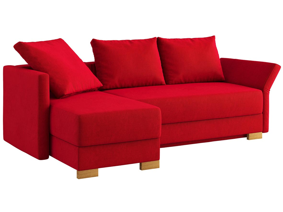 """Sofa """"Nathalie"""" mit Stoff """"Hochobir"""": Sofafarbe Rot, 2 Rückenkissen und 1 Faltkissen in Farbe Rot, Anbauelement links, Holzfüße in Kastanie"""
