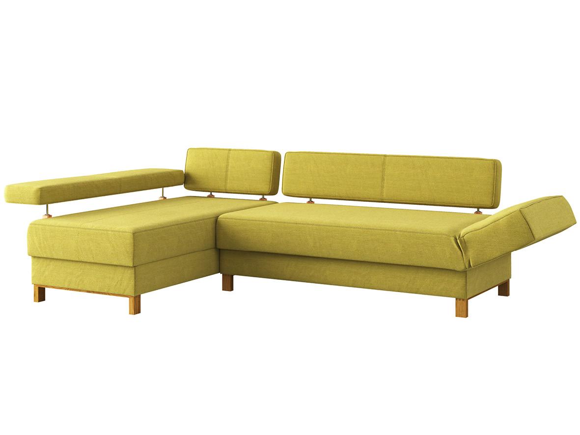 """Sofa """"Stella"""" mit Stoff """"Ankogel"""": Sofafarbe Limette, Anbauelement links, Holzfüße in Eiche"""
