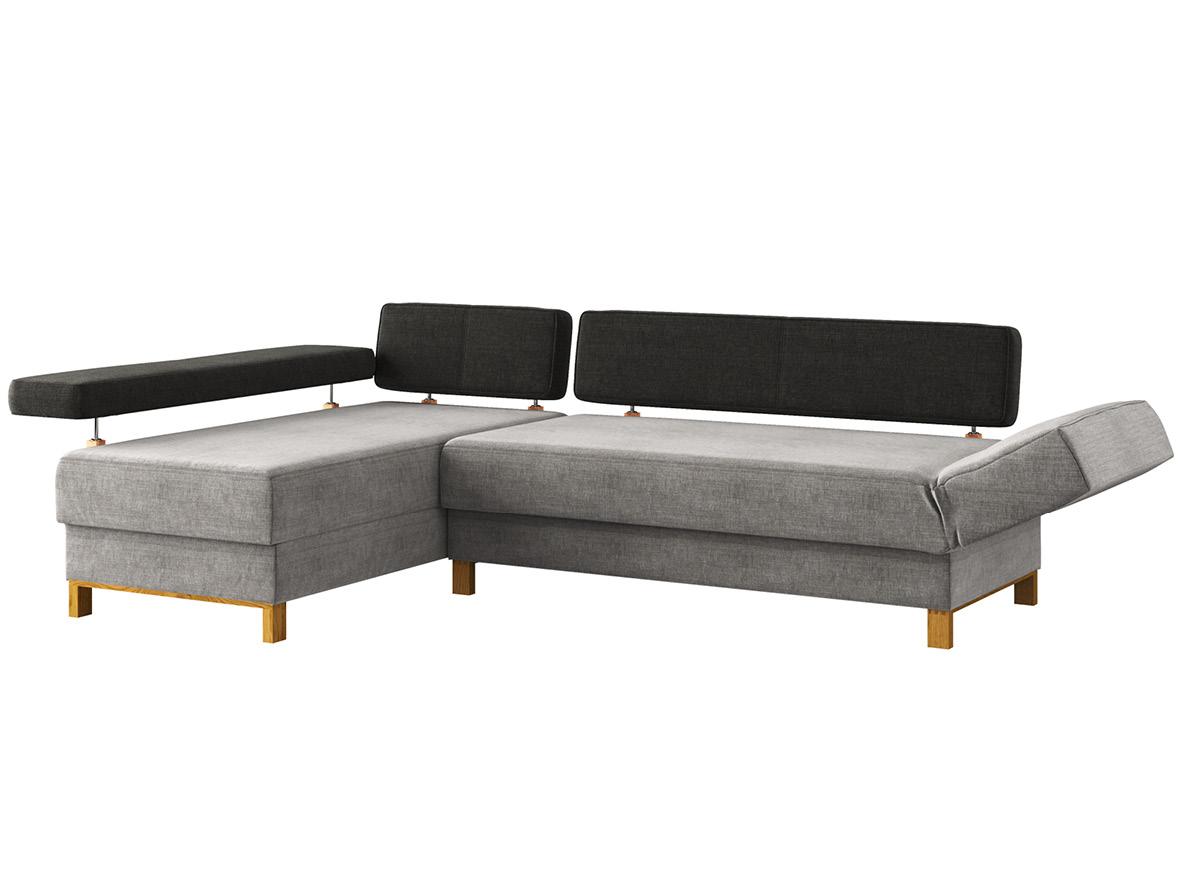 """Sofa """"Stella"""" mit Stoff """"Hochobir"""": Sofafarbe Stein, Farbe der Rückenlehnen Dunkelgrau, Anbauelement  links, Holzfüße in Eiche"""