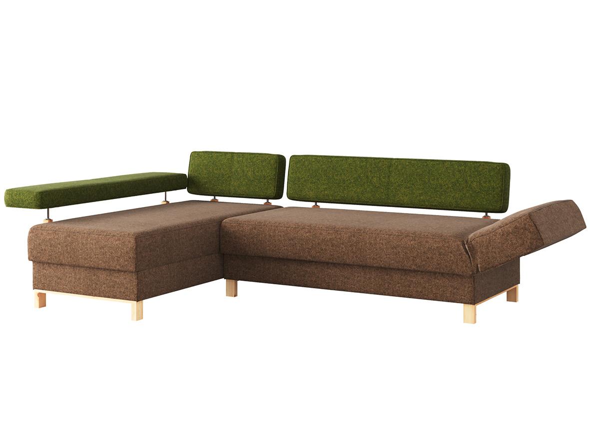 """Sofa """"Stella"""" mit Stoff Loden von """"Steiner 1888"""": Sofafarbe Braun, Farbe der Rückenlehne Grün, Anbauelement links, Holzfüße in Zirbe"""
