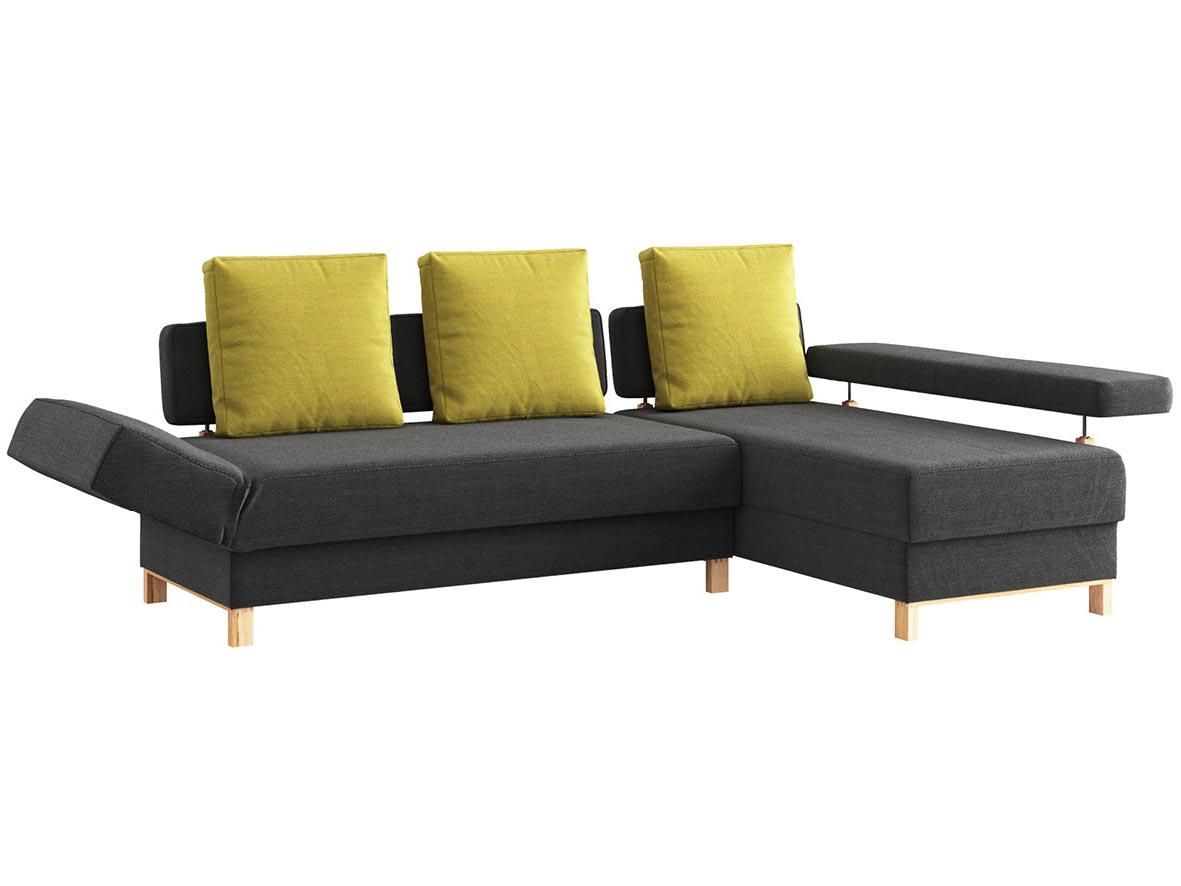 """Sofa """"Stella"""" mit Stoff """"Ankogel"""": Sofafarbe Karbon, Kissenfarbe Limette, Anbauelement rechts, Holzfüße in Esche"""