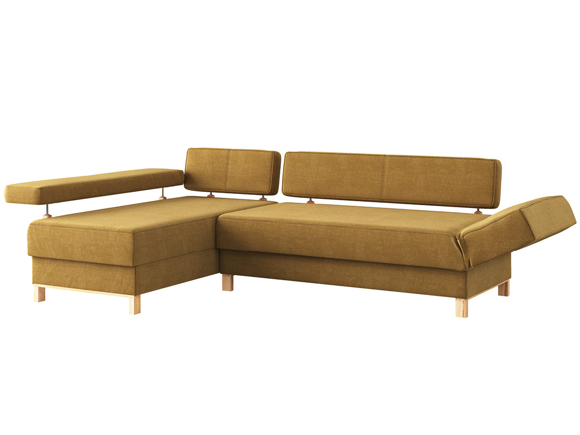 """Sofa """"Stella"""" mit Stoff """"Hochobir"""": Sofafarbe Schlamm, Anbauelement links, Holzfüße in Esche"""