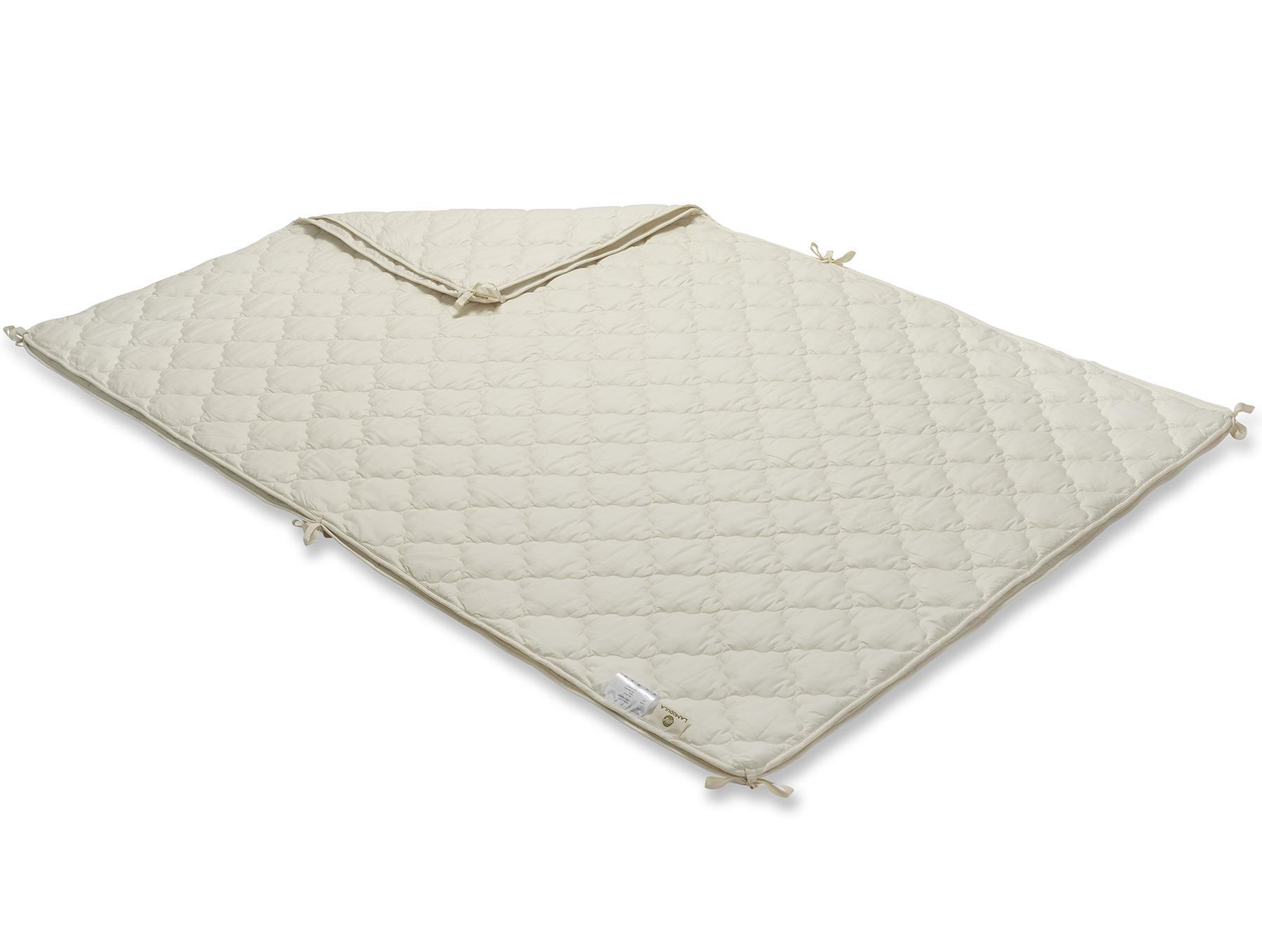 Mit praktischen Bändern an den Rändern kann man die beiden Decken miteinander verknüpfen.