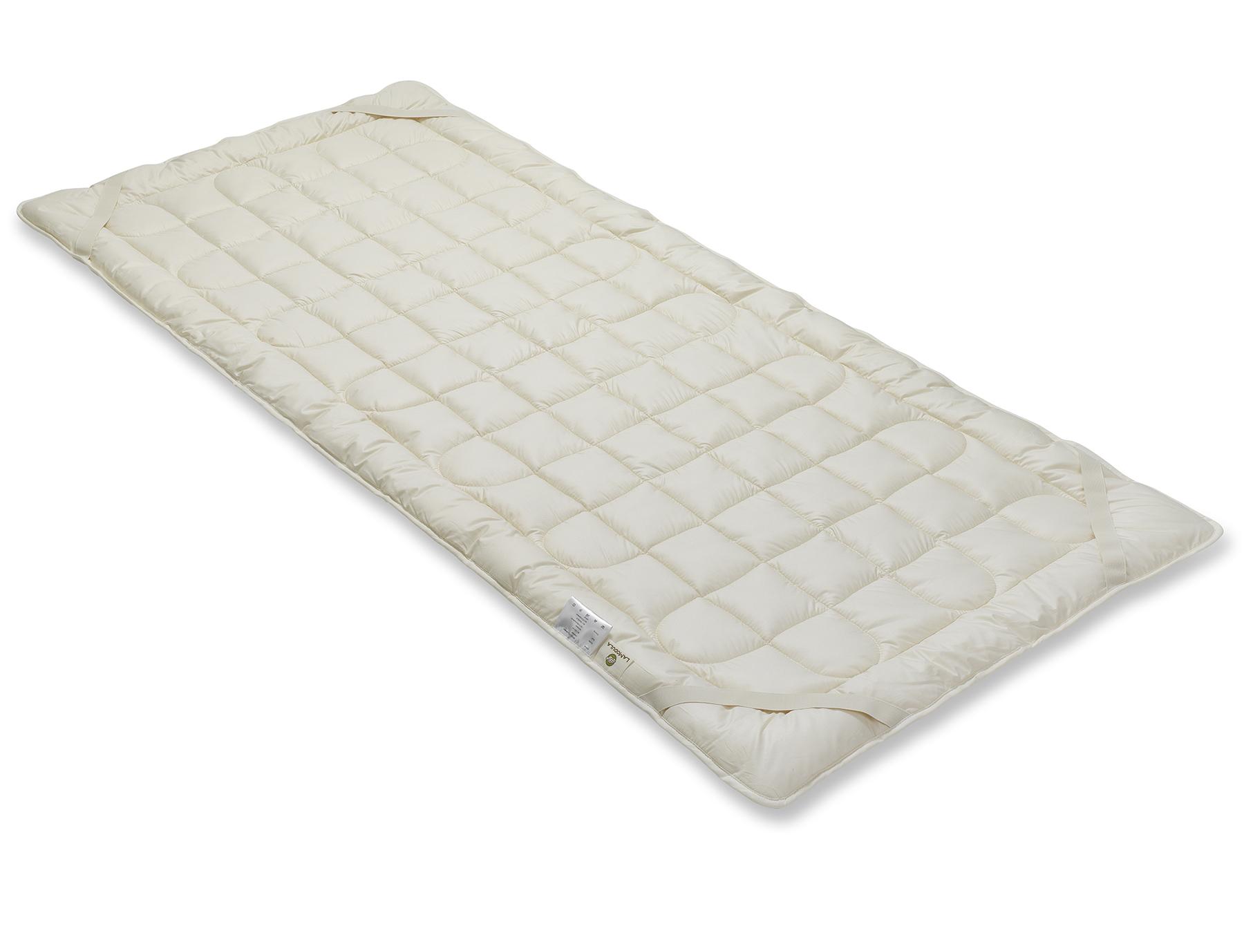 Vier praktische Schräggummibänder machen das Befestigen an der Matratze leicht.