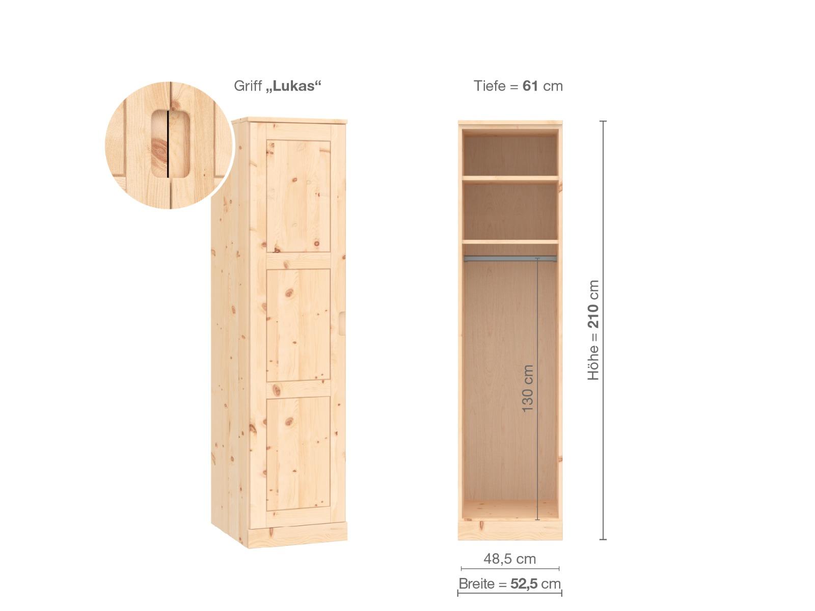 """Zirbenschrank """"Enzian"""", 1-türig, Höhe 210 cm, Griffausführung """"Lukas"""", Inneneinrichtung A, Türanschlag links"""
