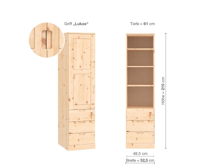 """Zirbenschrank """"Enzian"""", 1-türig, Höhe 210 cm, Griffausführung """"Lukas"""", Inneneinrichtung D, Türanschlag links"""