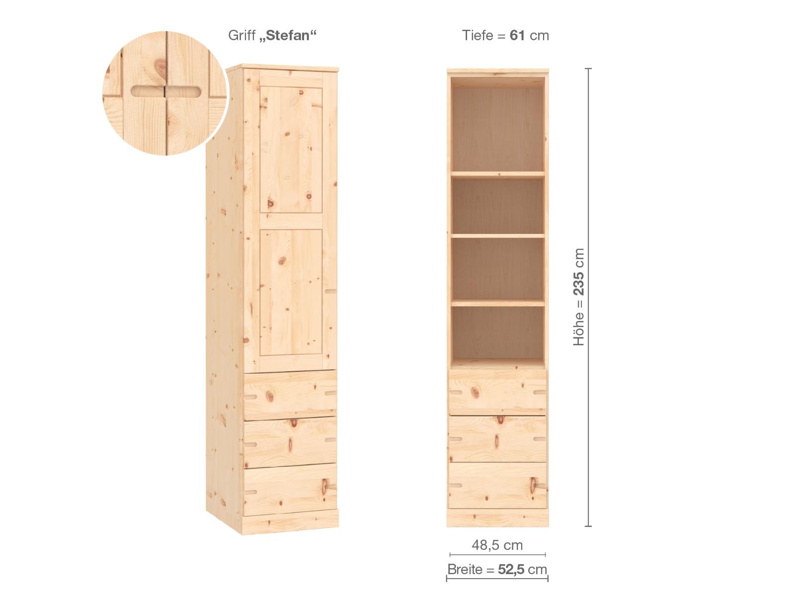 """Zirbenschrank """"Enzian"""", 1-türig, Höhe 235 cm, Griffausführung """"Stefan"""", Inneneinrichtung D, Türanschlag links"""