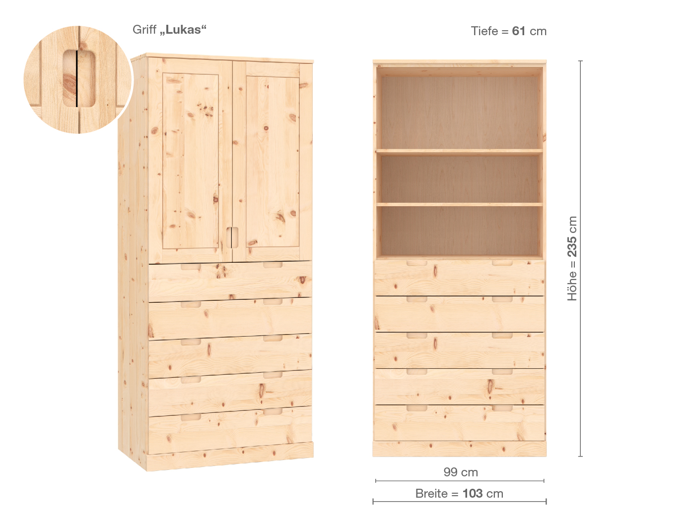 "Zirbenschrank ""Edelweiß"", 2-türig, Höhe 235 cm, Griffausführung ""Lukas"", Inneneinrichtung E"
