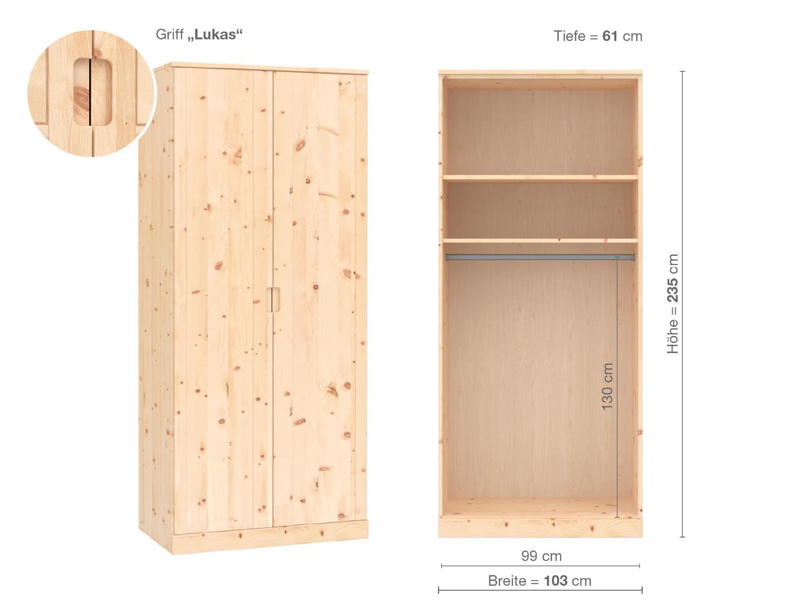 """Zirbenschrank """"Arnika"""", 2-türig, 235 cm, Griffausführung """"Lukas"""", Inneneinrichtung A"""