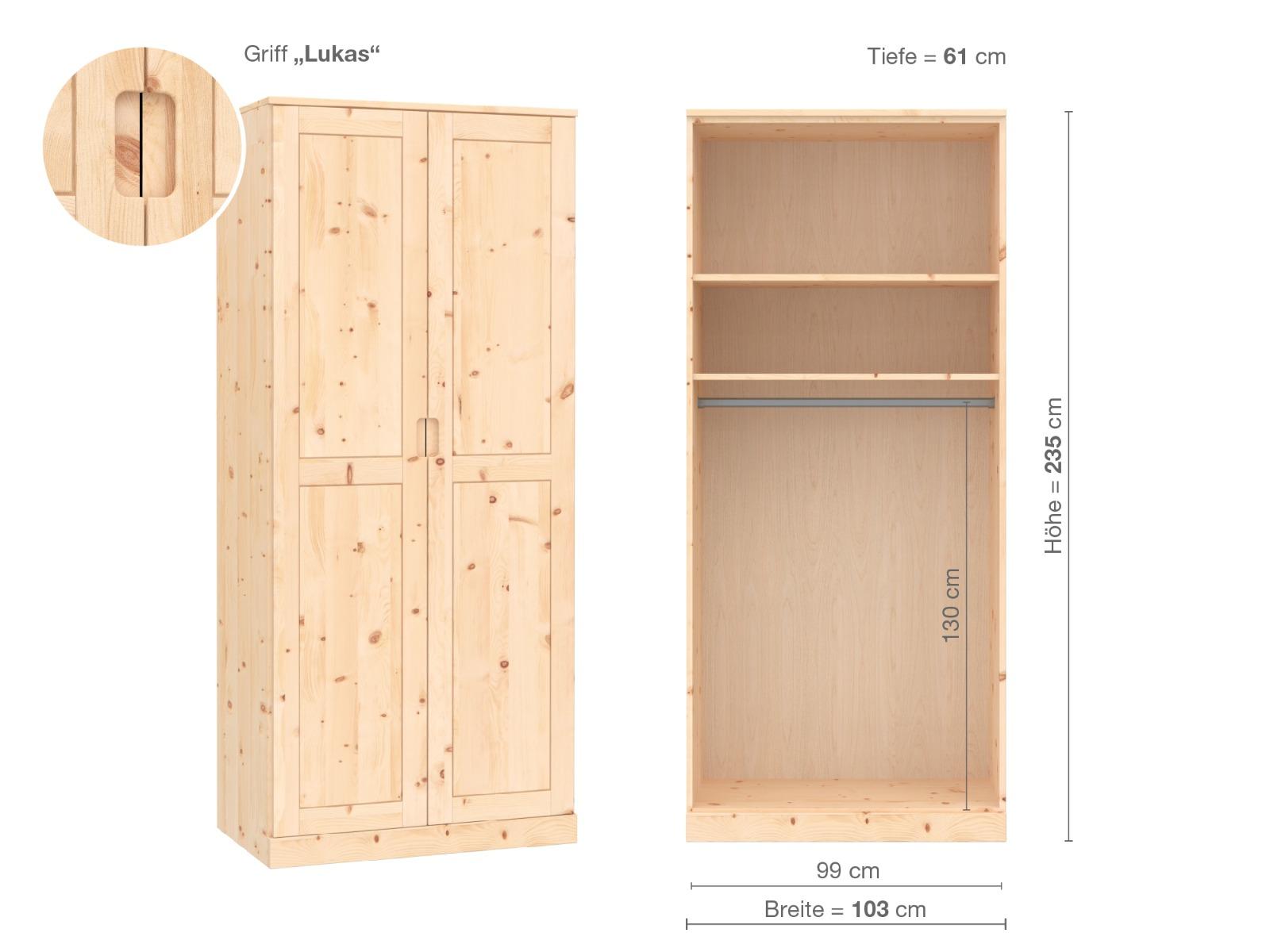 """Zirbenschrank """"Edelweiß"""", 2-türig, Höhe 235 cm, Griffausführung """"Lukas"""", Inneneinrichtung A"""