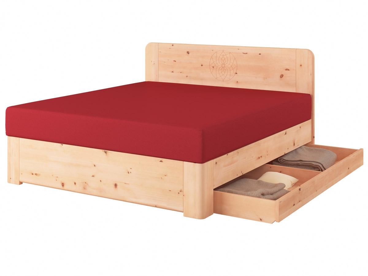 """Zirbenholzbett """"Niklas"""" Boxspring mit Gravur, einer Unterbettkommode (183 cm) rechts"""