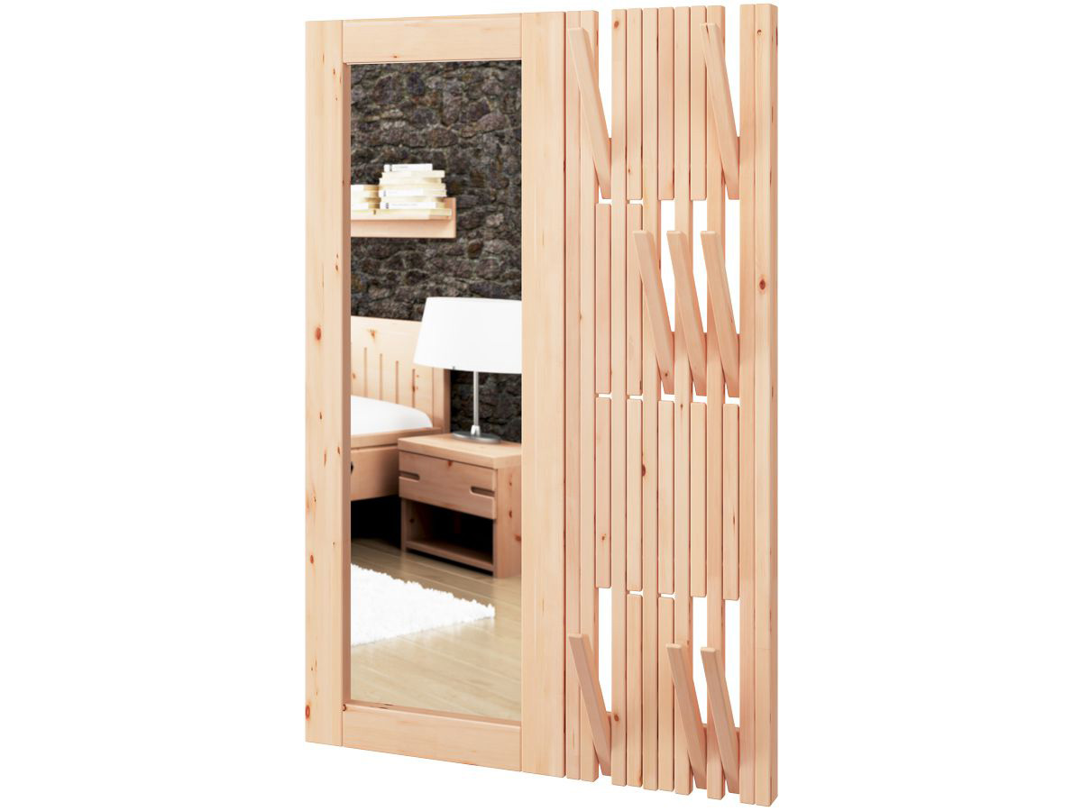 Wandgarderobe aus Zirbenholz mit Spiegel links