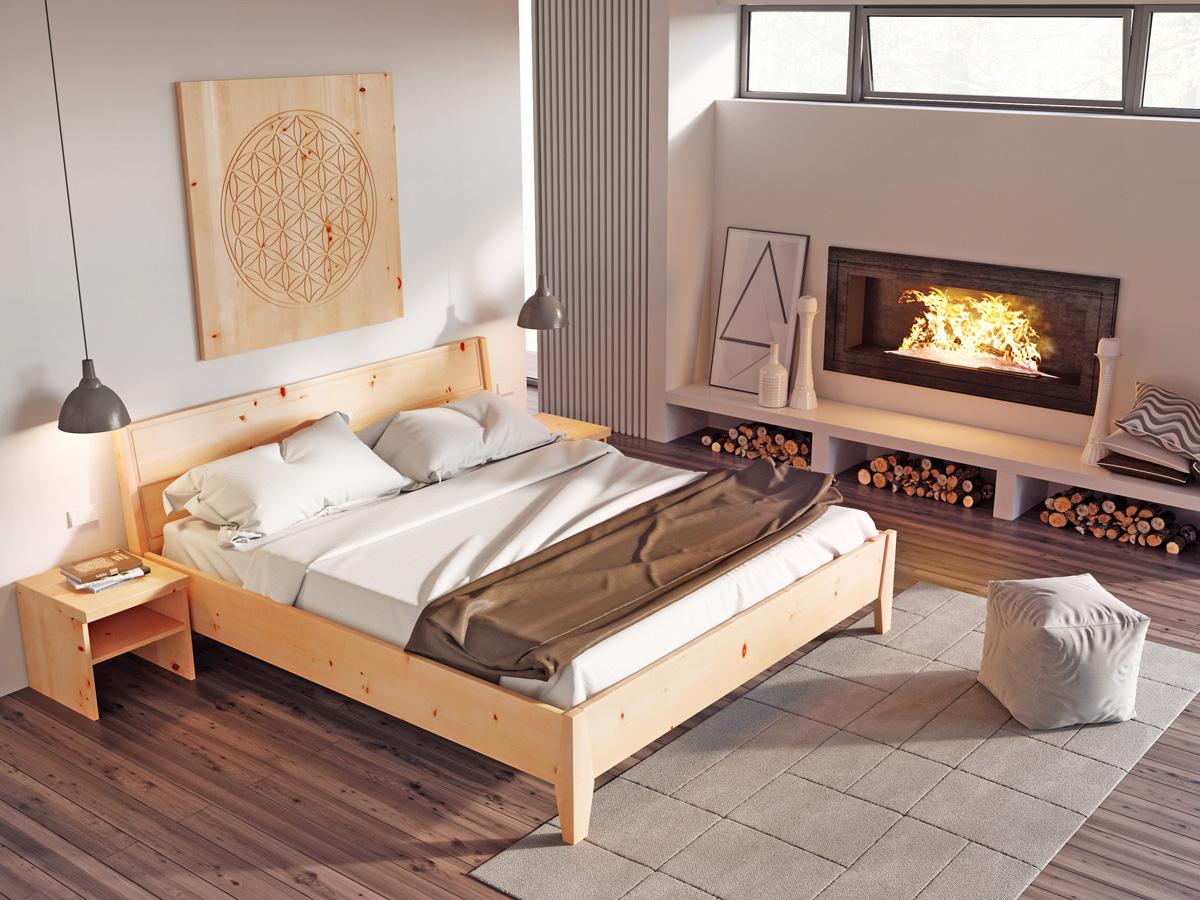 """Zirbenschlafzimmer mit Wandbild """"Blume des Lebens"""""""