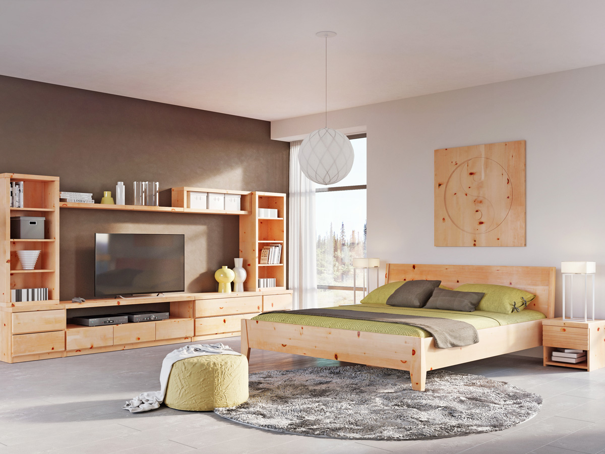 "Zirbenschlafzimmer mit Wandbild ""Yin Yang"""