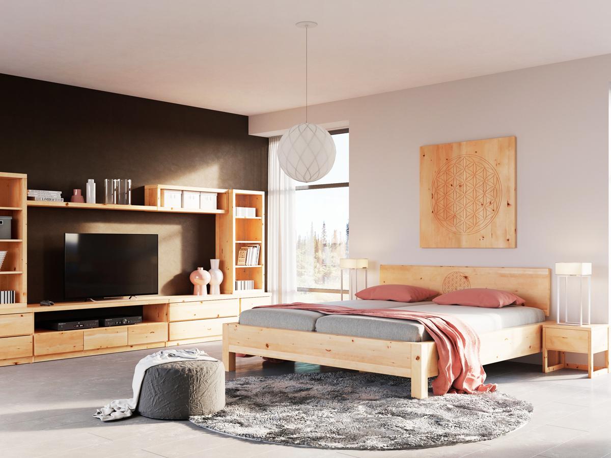 """Zirbenschlafzimmer mit Zirbenbett """"Kurt"""" mit Gravur 180 x 200 cm"""