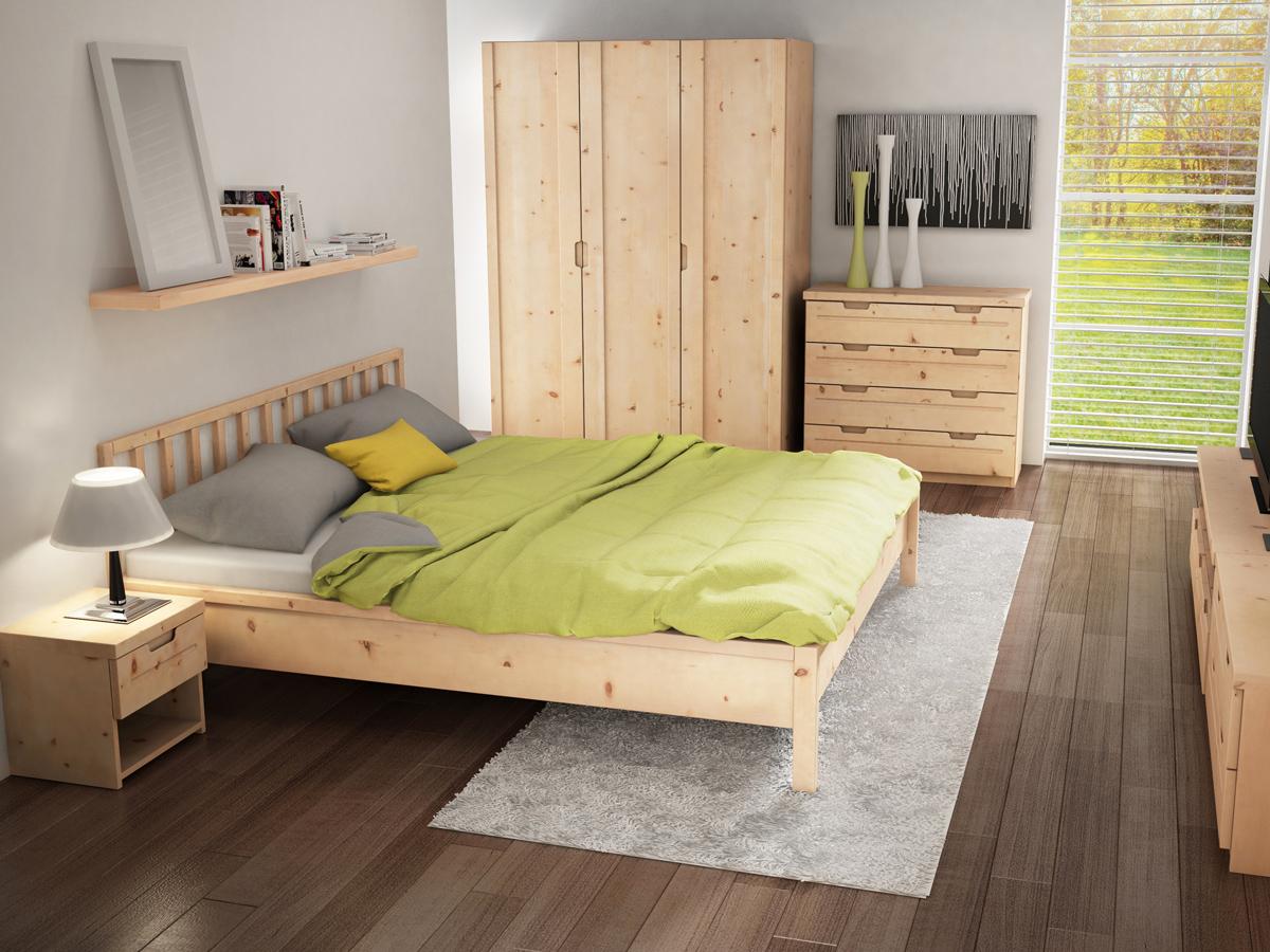 """Schlafzimmer mit Nachtkästchen aus Zirbe """"Lukas"""" mit einer Lade, in Standardhöhe"""