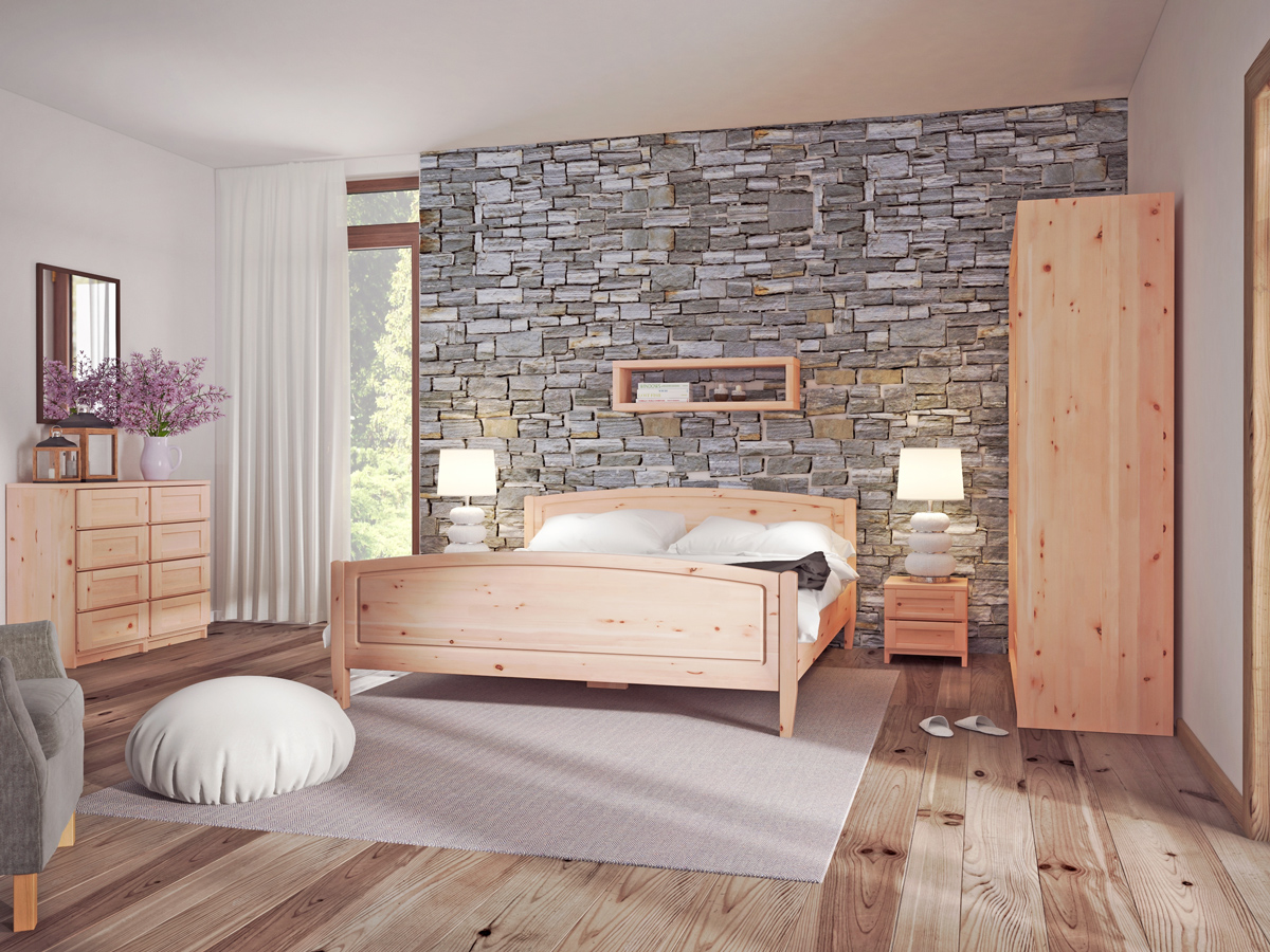 """Schlafzimmer mit Zirbenholzbett """"Linda"""""""