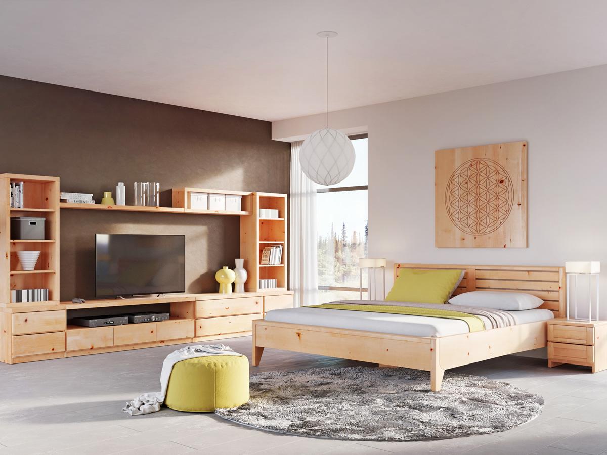 """Zirbenschlafzimmer mit Zirbenbett """"Nina"""" 180 x 200 cm - Zirbenholz, metallfrei"""