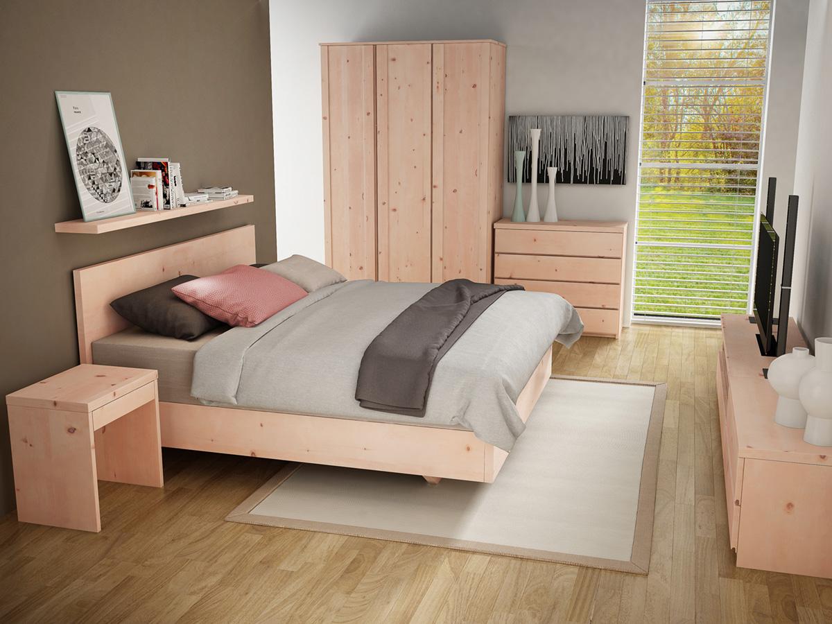 """Zirbenschlafzimmer mit Nachttisch aus Zirbenholz """"Emil"""" mit Lade in Boxspringhöhe"""