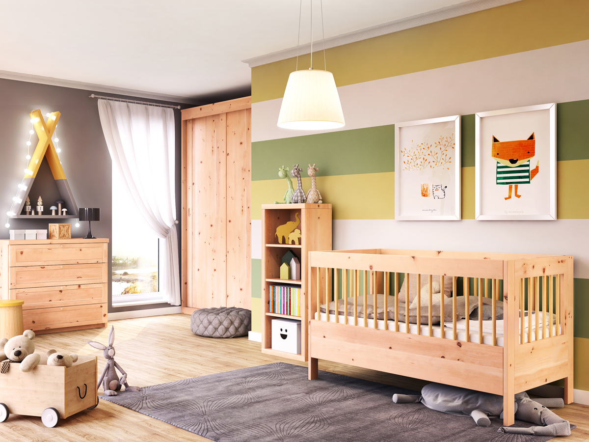 "Kinderzimmer mit Babybett ""Paula"" 70 x 140 cm"