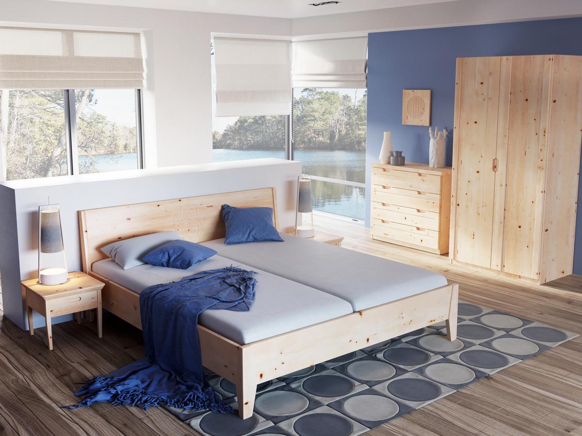 """Schlafzimmer mit Nachtkästchen aus Zirbe """"Sarah"""""""