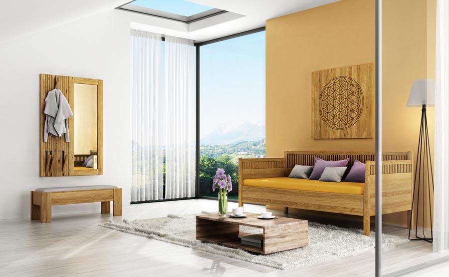 Wohnzimmer mit Sofabett, Bettbank und Garderobe aus Eiche