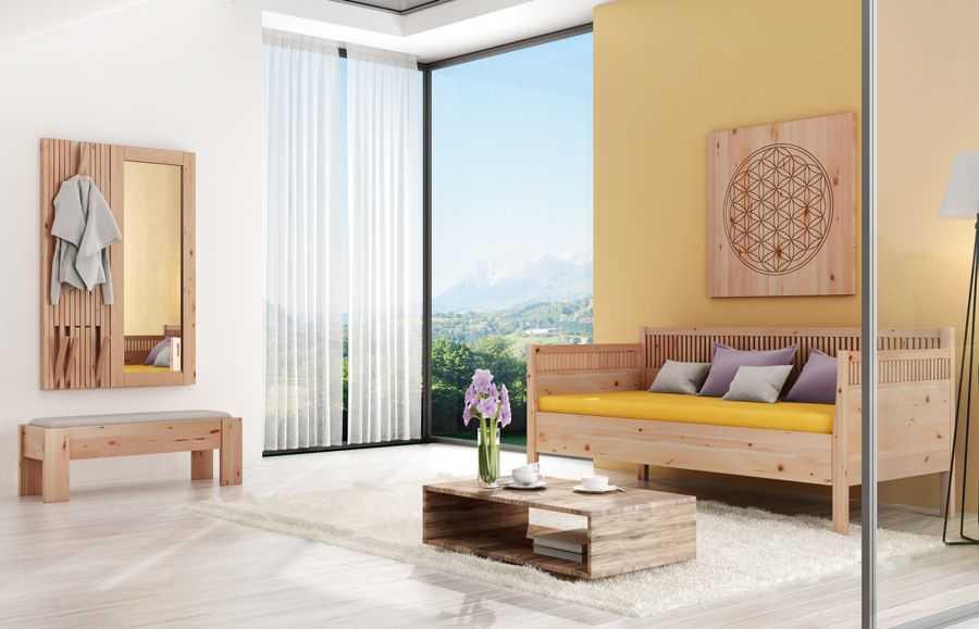 Zirbenzimmer mit Sofabett, Bettbank und Zirbengarderobe