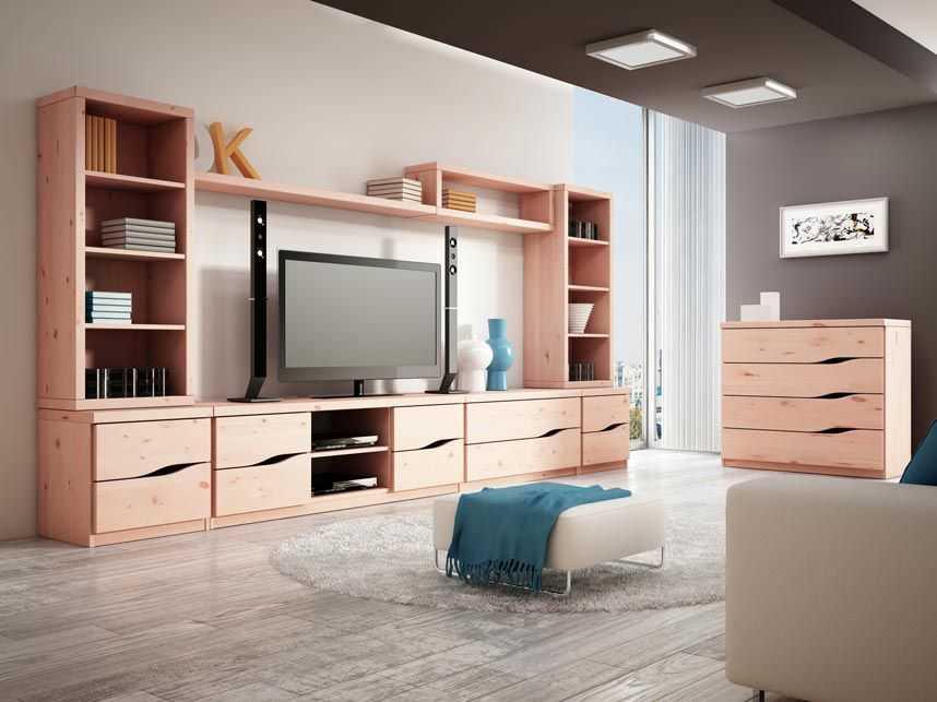 zirben wohnzimmer:Zirbenzimmer mit Zirbenregal und Bücherregal aus Zirbe