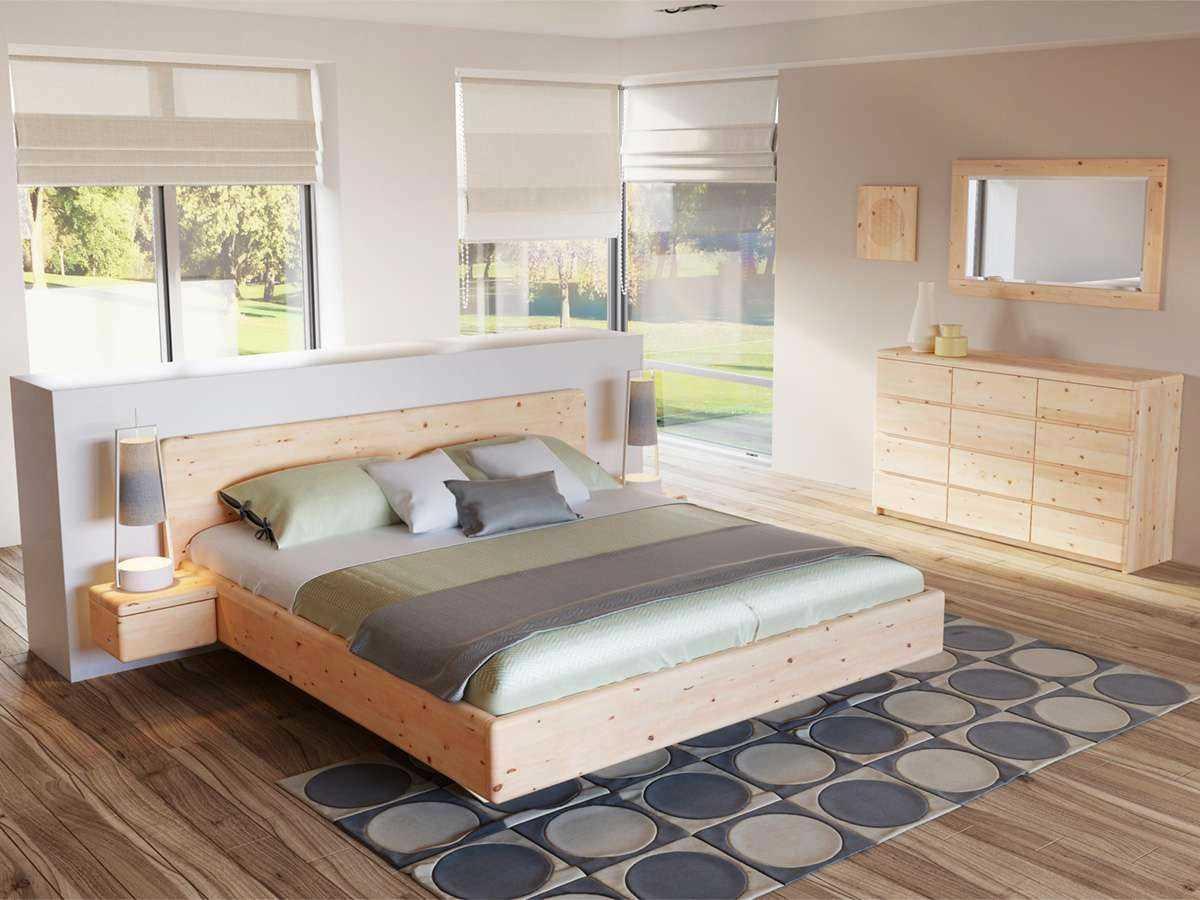 Schlafzimmer mit schwebendem Zirbenbett